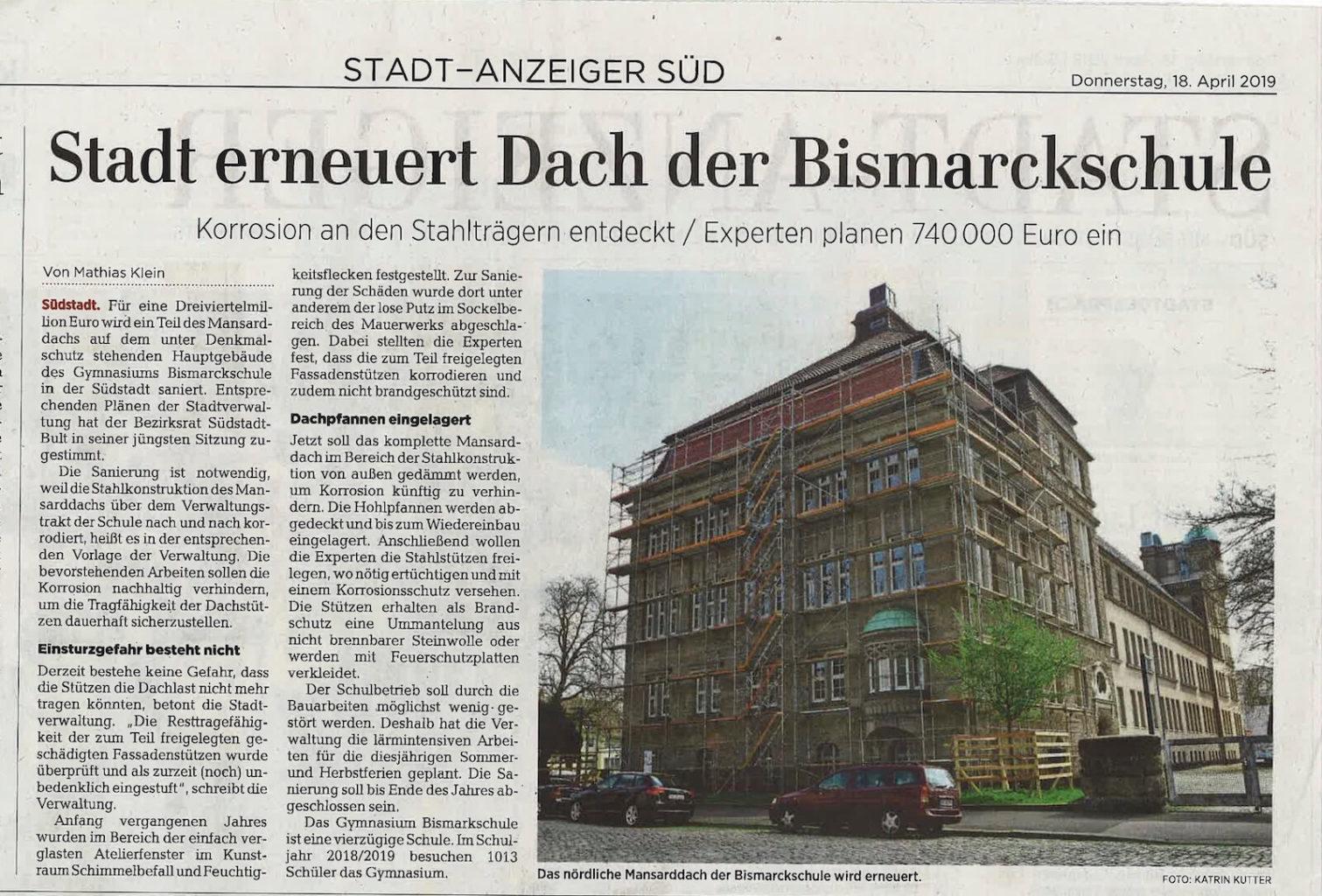 HAZ Artikel - Auftrag zur denkmalgerechten Sanierung Gymnasium Bismarckschule